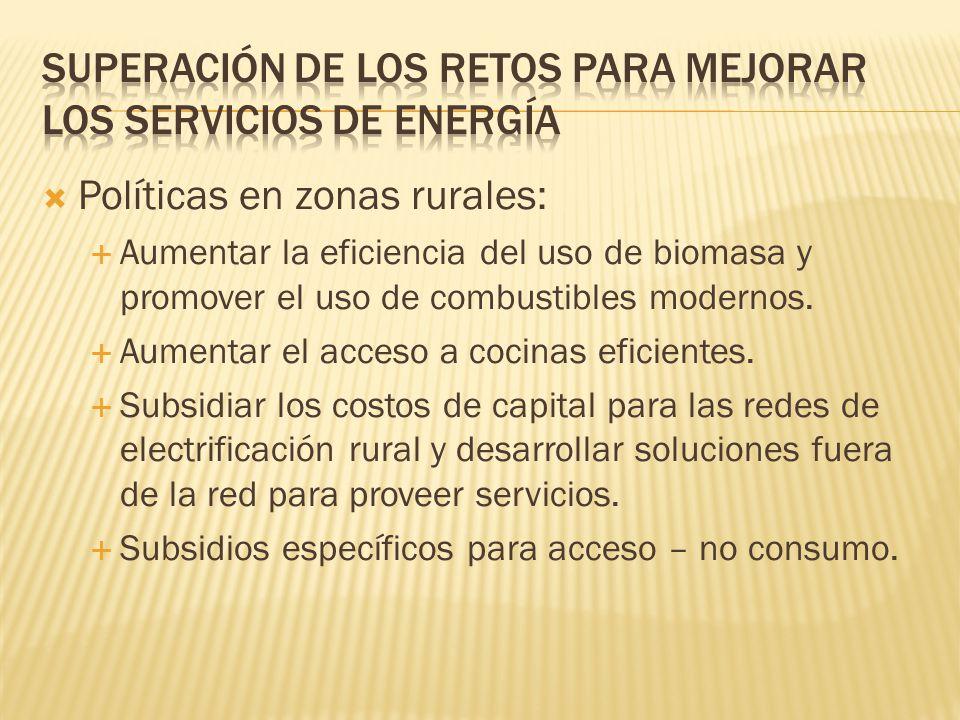 Políticas en zonas rurales: Aumentar la eficiencia del uso de biomasa y promover el uso de combustibles modernos.