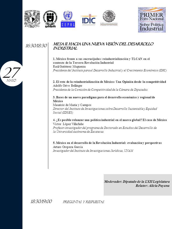 9:00/11:00 MESA iii.reflexiones generales sobre el modelo industrial mexicano (A) 1.