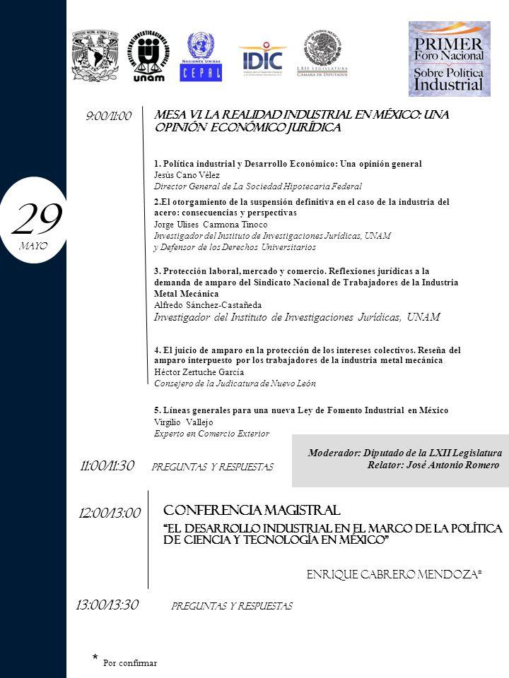 12:00/13:00 MESA VI. LA REALIDAD INDUSTRIAL EN MÉXICO: UNA OPINIÓN ECONÓMICO JURÍDICA 1.