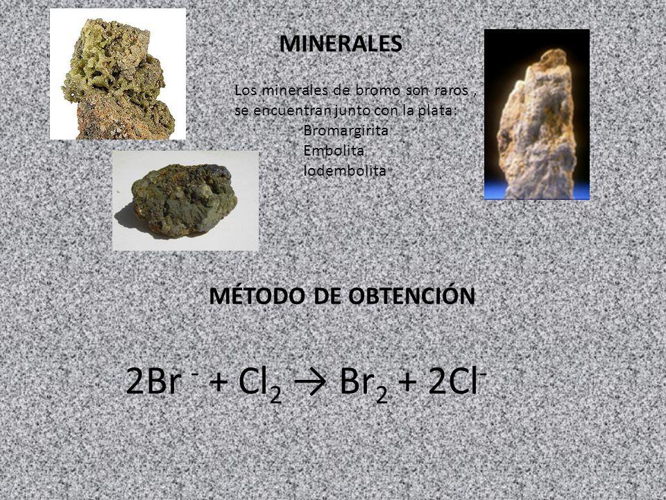 MINERALES Los minerales de bromo son raros, se encuentran junto con la plata: Bromargirita Embolita Iodembolita MÉTODO DE OBTENCIÓN 2Br - + Cl 2 Br 2