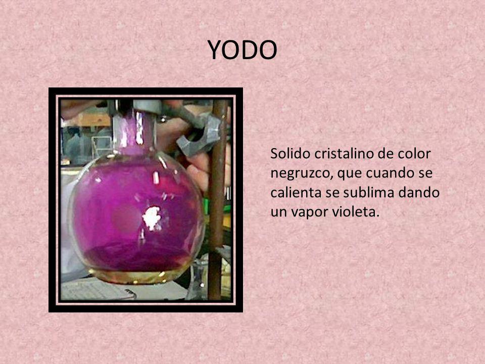 YODO Solido cristalino de color negruzco, que cuando se calienta se sublima dando un vapor violeta.