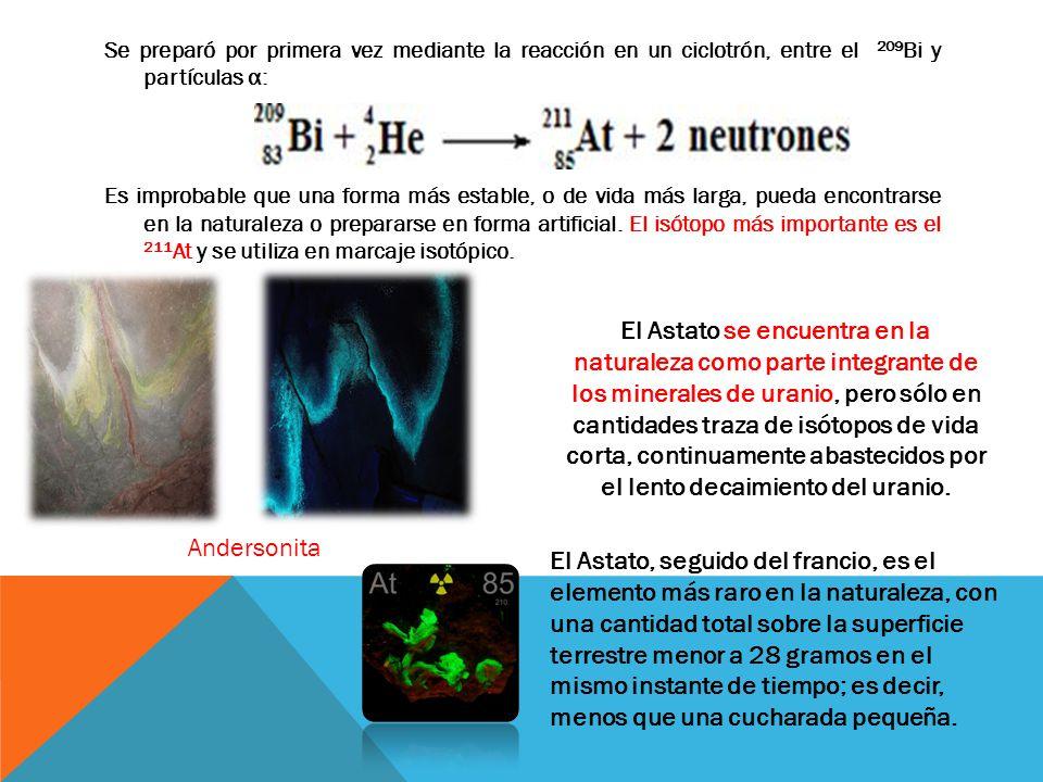 Se preparó por primera vez mediante la reacción en un ciclotrón, entre el 209 Bi y partículas α: Es improbable que una forma más estable, o de vida má
