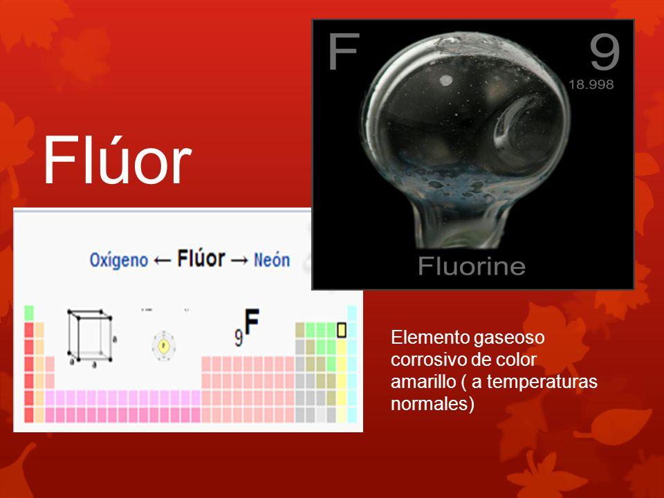 Flúor Elemento gaseoso corrosivo de color amarillo ( a temperaturas normales)