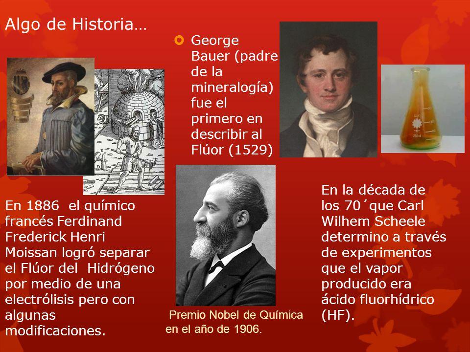 Algo de Historia… George Bauer (padre de la mineralogía) fue el primero en describir al Flúor (1529) En la década de los 70´que Carl Wilhem Scheele de