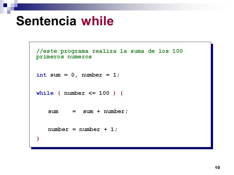 10 Sentencia while //este programa realiza la suma de los 100 primeros numeros int sum = 0, number = 1; while ( number <= 100 ) { sum = sum + number;