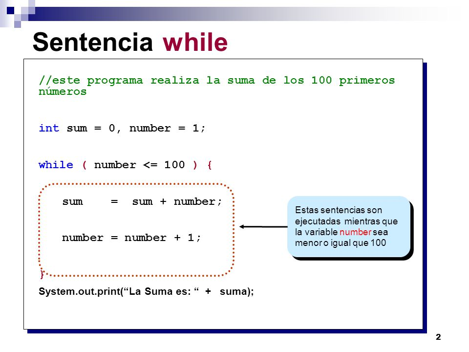 23 Mas ejemplos for (int i = 0; i < 100; i += 5) 1 1 i = 0, 5, 10, …, 95 for (int j = 2; j < 40; j *= 2) 2 2 j = 2, 4, 8, 16, 32 for (int k = 100; k > 0; k--) ) 3 3 k = 100, 99, 98, 97,..., 1