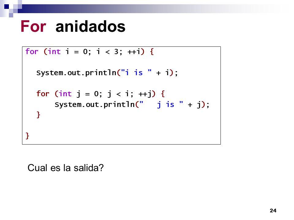 24 For anidados for (int i = 0; i < 3; ++i) { System.out.println(