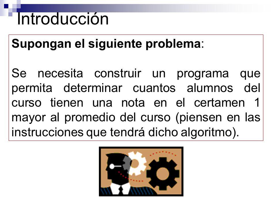 Introducción Supongan el siguiente problema: Se necesita construir un programa que permita determinar cuantos alumnos del curso tienen una nota en el