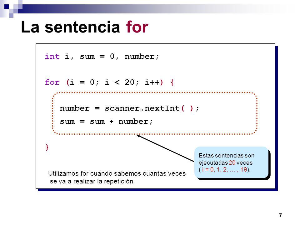 8 Syntax sentencia for for ( i = 0 ; i < 20 ; i++ ) { number = scanner.nextInt(); sum = sum + number; } for ( ; ; ){ } Inicializacion Expresión Booleana Incremento Sentencias (loop body) Sentencias (loop body)