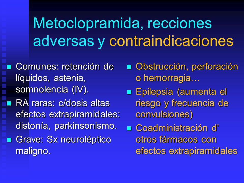 Metoclopramida, recciones adversas y contraindicaciones Comunes: retención de líquidos, astenia, somnolencia (IV).