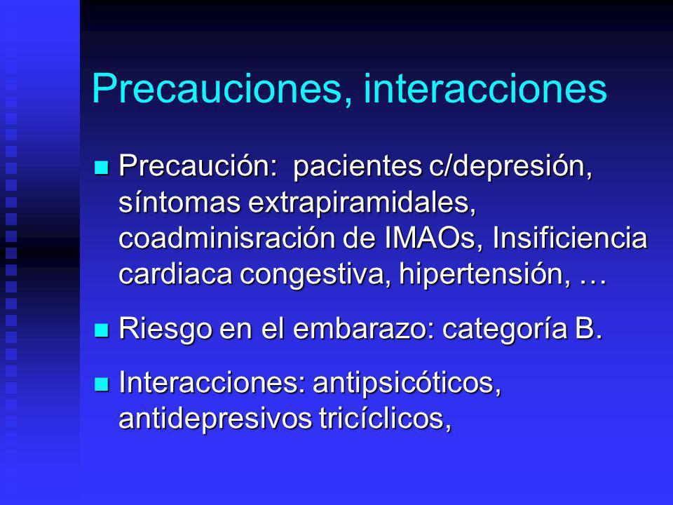Precauciones, interacciones Precaución: pacientes c/depresión, síntomas extrapiramidales, coadminisración de IMAOs, Insificiencia cardiaca congestiva, hipertensión, … Precaución: pacientes c/depresión, síntomas extrapiramidales, coadminisración de IMAOs, Insificiencia cardiaca congestiva, hipertensión, … Riesgo en el embarazo: categoría B.