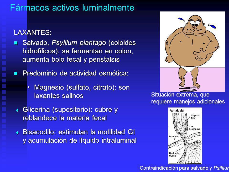 Fármacos activos luminalmenteLAXANTES: Salvado, Psyllium plantago (coloides hidrofílicos): se fermentan en colon, aumenta bolo fecal y peristalsis Salvado, Psyllium plantago (coloides hidrofílicos): se fermentan en colon, aumenta bolo fecal y peristalsis Predominio de actividad osmótica: Predominio de actividad osmótica: Magnesio (sulfato, citrato): son laxantes salinosMagnesio (sulfato, citrato): son laxantes salinos Glicerina (supositorio): cubre y reblandece la materia fecal Glicerina (supositorio): cubre y reblandece la materia fecal Bisacodilo: estimulan la motilidad GI y acumulación de líquido intraluminal Bisacodilo: estimulan la motilidad GI y acumulación de líquido intraluminal Situación extrema, que requiere manejos adicionales Contraindicación para salvado y Psillium