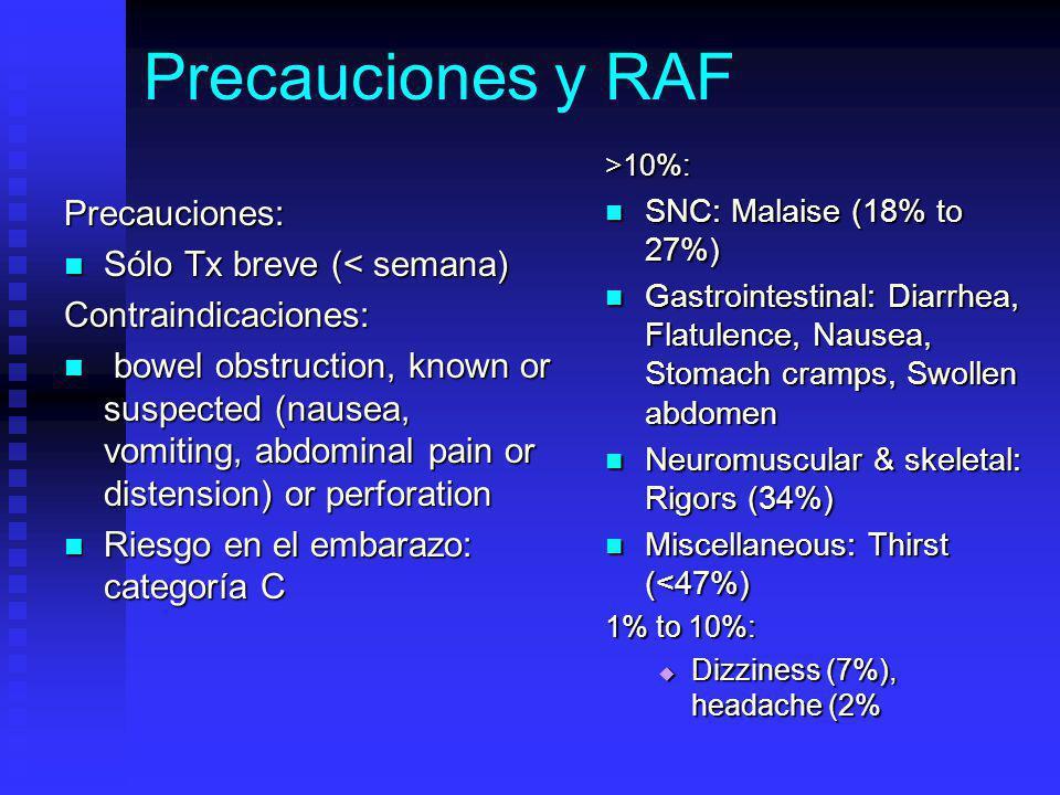 Precauciones y RAF Precauciones: Sólo Tx breve (< semana) Sólo Tx breve (< semana)Contraindicaciones: bowel obstruction, known or suspected (nausea, vomiting, abdominal pain or distension) or perforation bowel obstruction, known or suspected (nausea, vomiting, abdominal pain or distension) or perforation Riesgo en el embarazo: categoría C Riesgo en el embarazo: categoría C >10%: SNC: Malaise (18% to 27%) Gastrointestinal: Diarrhea, Flatulence, Nausea, Stomach cramps, Swollen abdomen Neuromuscular & skeletal: Rigors (34%) Miscellaneous: Thirst (<47%) 1% to 10%: Dizziness (7%), headache (2%
