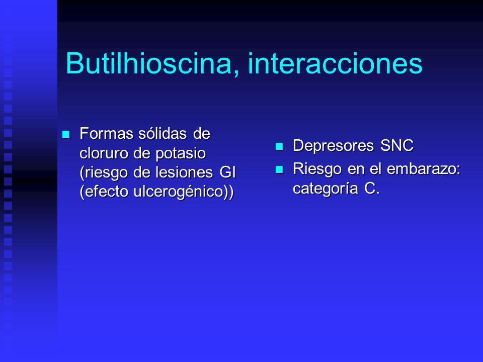 Butilhioscina, interacciones Formas sólidas de cloruro de potasio (riesgo de lesiones GI (efecto ulcerogénico)) Formas sólidas de cloruro de potasio (riesgo de lesiones GI (efecto ulcerogénico)) Depresores SNC Riesgo en el embarazo: categoría C.