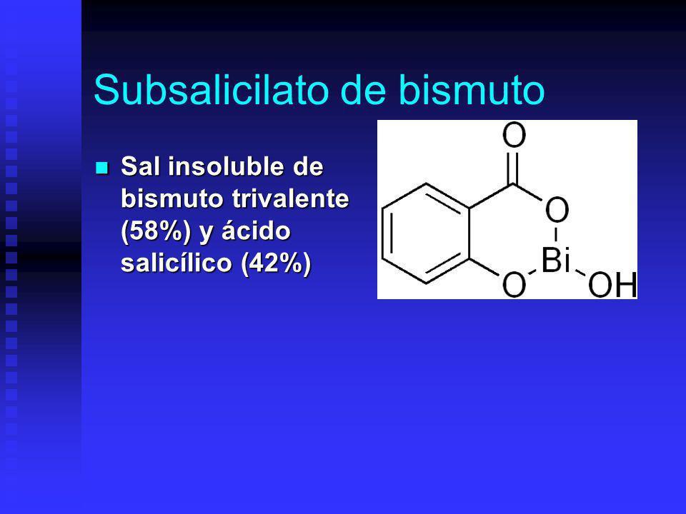 Subsalicilato de bismuto Sal insoluble de bismuto trivalente (58%) y ácido salicílico (42%) Sal insoluble de bismuto trivalente (58%) y ácido salicílico (42%)