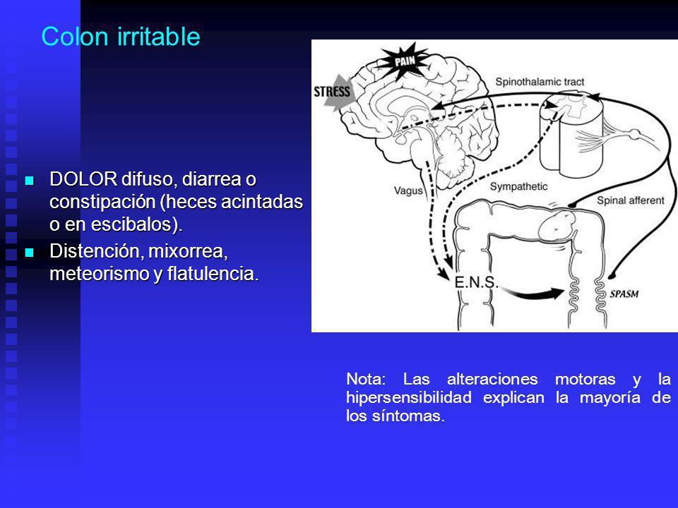 Colon irritable DOLOR difuso, diarrea o constipación (heces acintadas o en escibalos).