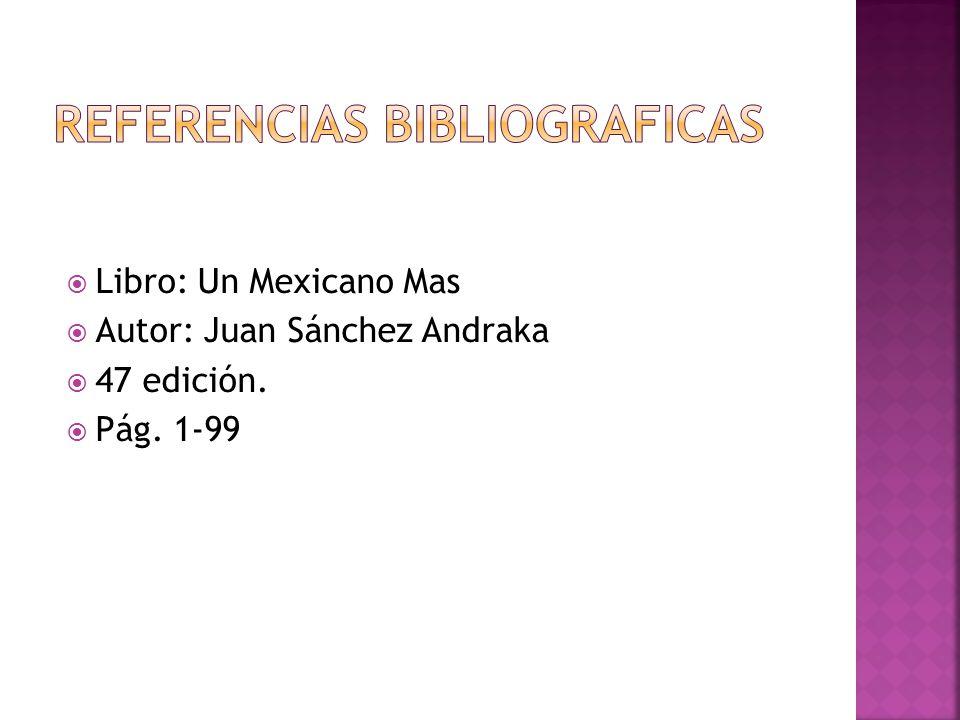 Libro: Un Mexicano Mas Autor: Juan Sánchez Andraka 47 edición. Pág. 1-99