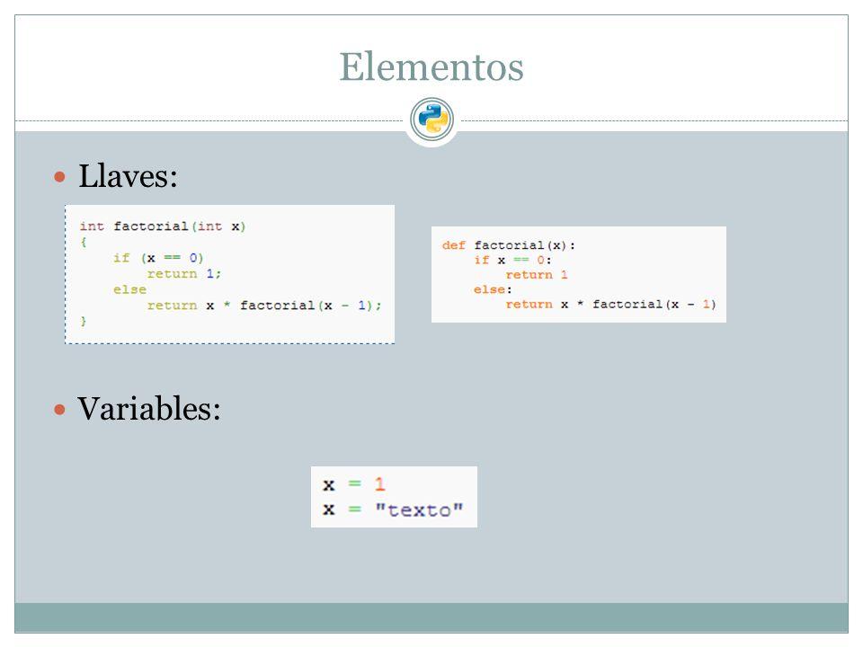 Elementos Llaves: Variables:
