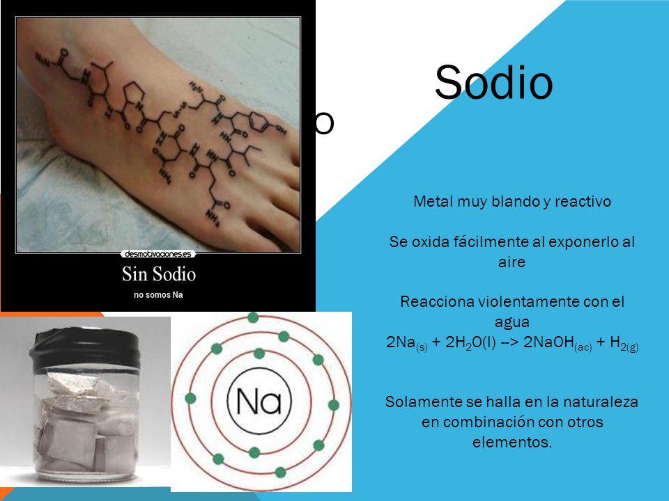 NA SODIO Metal muy blando y reactivo Se oxida fácilmente al exponerlo al aire Reacciona violentamente con el agua 2Na (s) + 2H 2 O(l) --> 2NaOH (ac) +