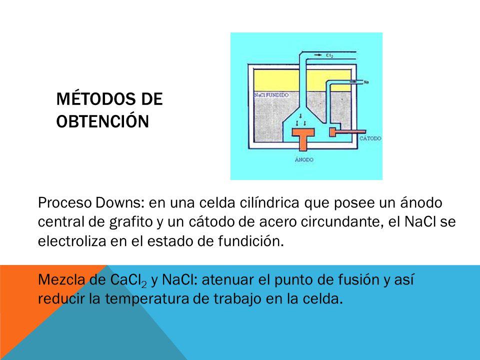 MÉTODOS DE OBTENCIÓN Proceso Downs: en una celda cilíndrica que posee un ánodo central de grafito y un cátodo de acero circundante, el NaCl se electro