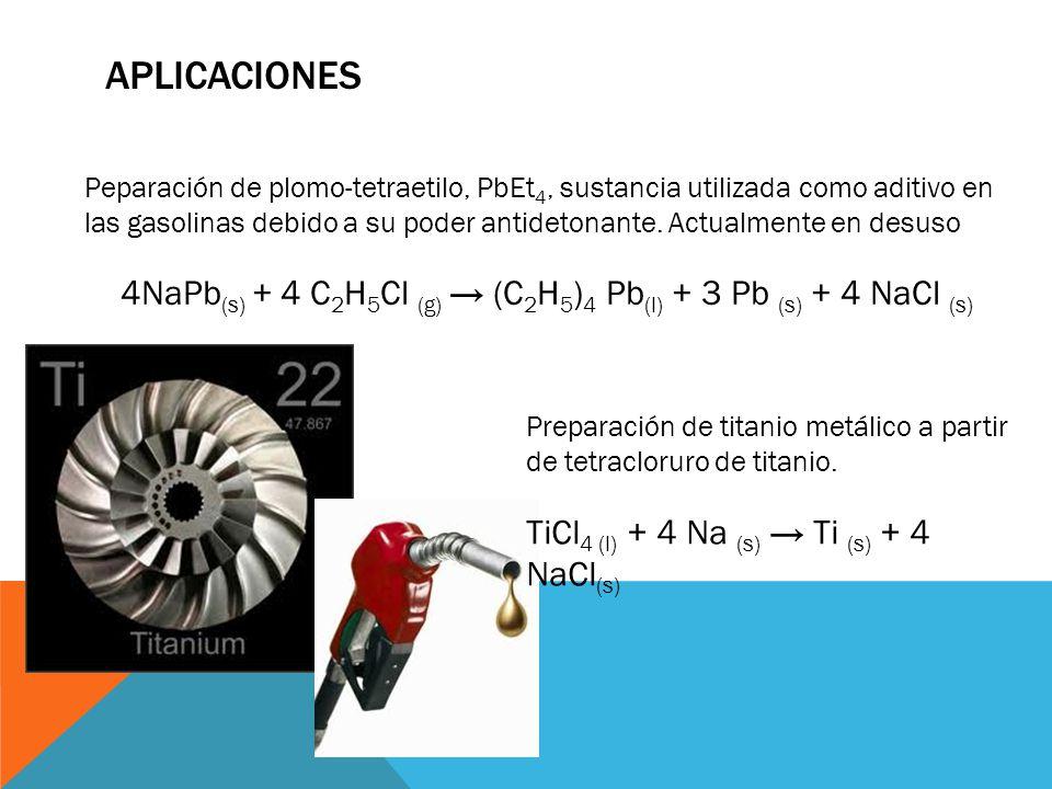 APLICACIONES Peparación de plomo-tetraetilo, PbEt 4, sustancia utilizada como aditivo en las gasolinas debido a su poder antidetonante. Actualmente en
