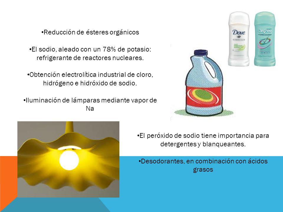 Reducción de ésteres orgánicos El sodio, aleado con un 78% de potasio: refrigerante de reactores nucleares. Obtención electrolítica industrial de clor