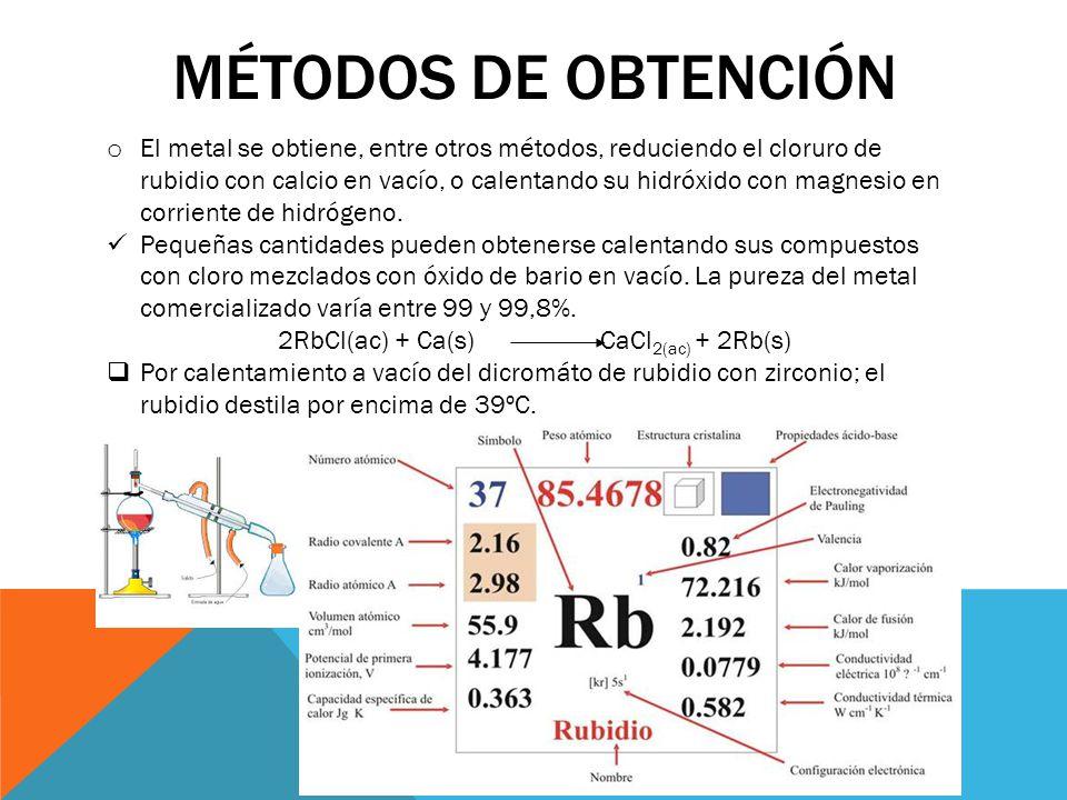 MÉTODOS DE OBTENCIÓN o El metal se obtiene, entre otros métodos, reduciendo el cloruro de rubidio con calcio en vacío, o calentando su hidróxido con m