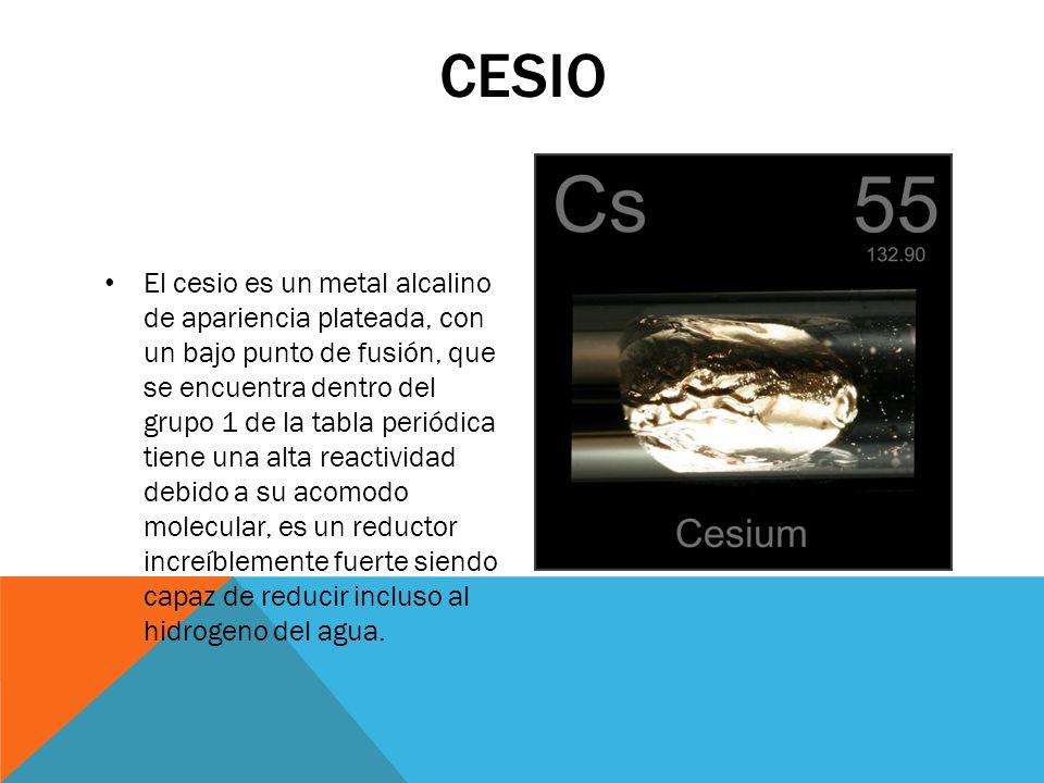 REACTIVIDAD DEL CESIO Su reacción mas característica, es como con todos los metales alcalinos, la reducción del hidrogeno del agua obteniendo hidróxido de cesio e hidrogeno gaseoso, esta reacción es increíblemente exotérmica.