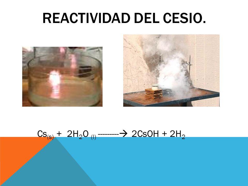 OBTENCIÓN Al ser un metal con una muy baja electronegatividad es necesario llevara acabo una electrolisis del cianuro de cesio para reducirlo y obtener cesio metálico.