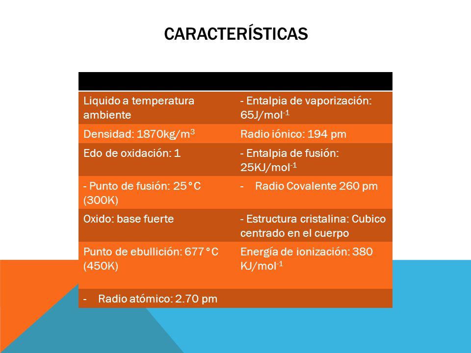 CARACTERÍSTICAS Liquido a temperatura ambiente - Entalpia de vaporización: 65J/mol -1 Densidad: 1870kg/m 3 Radio iónico: 194 pm Edo de oxidación: 1- E
