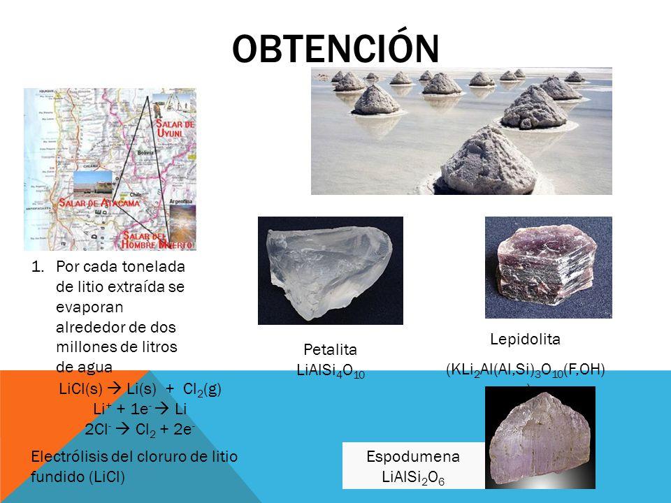 OBTENCIÓN Petalita LiAlSi 4 O 10 Lepidolita (KLi 2 Al(Al,Si) 3 O 10 (F,OH) 2 ) Espodumena LiAlSi 2 O 6 1.Por cada tonelada de litio extraída se evapor