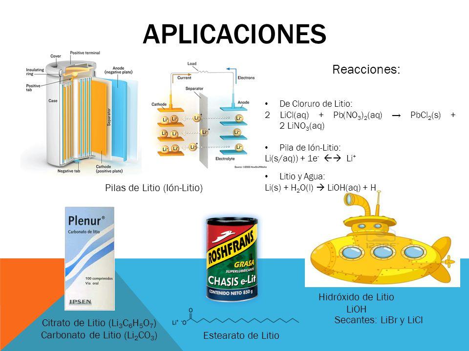 APLICACIONES Pilas de Litio (Ión-Litio) Citrato de Litio (Li 3 C 6 H 5 O 7 ) Carbonato de Litio (Li 2 CO 3 ) Estearato de Litio Hidróxido de Litio LiO