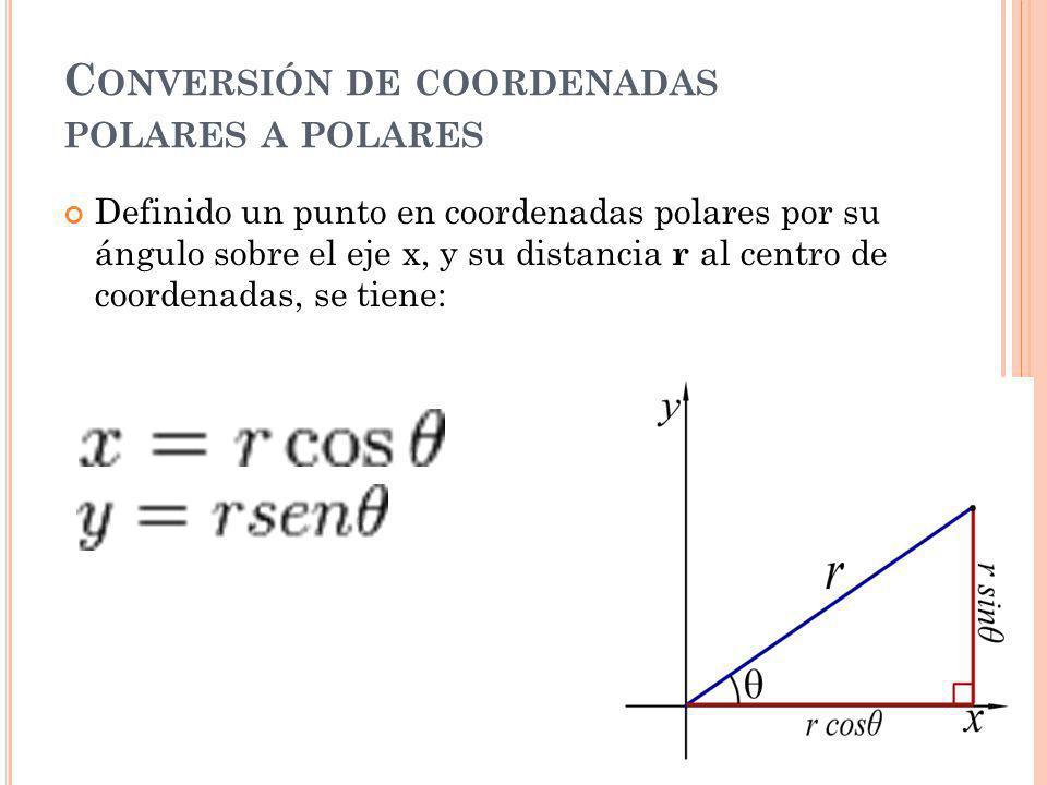 C ONVERSIÓN DE COORDENADAS POLARES A POLARES Definido un punto en coordenadas polares por su ángulo sobre el eje x, y su distancia r al centro de coordenadas, se tiene: