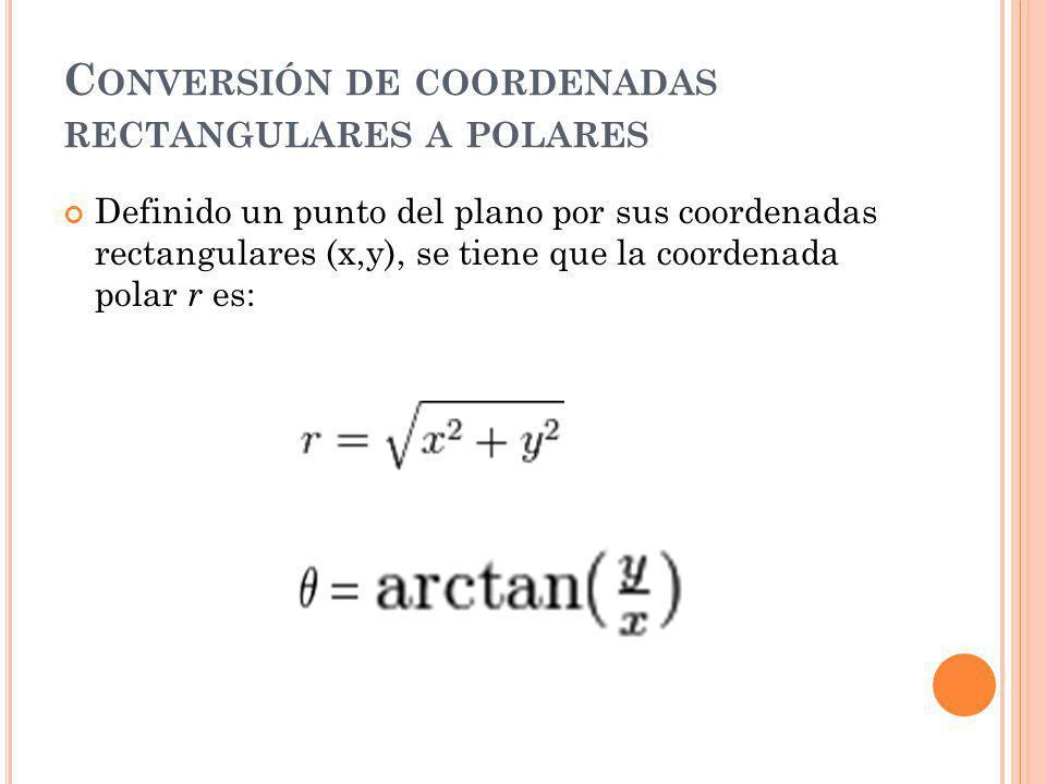 C ONVERSIÓN DE COORDENADAS RECTANGULARES A POLARES Definido un punto del plano por sus coordenadas rectangulares (x,y), se tiene que la coordenada polar r es: