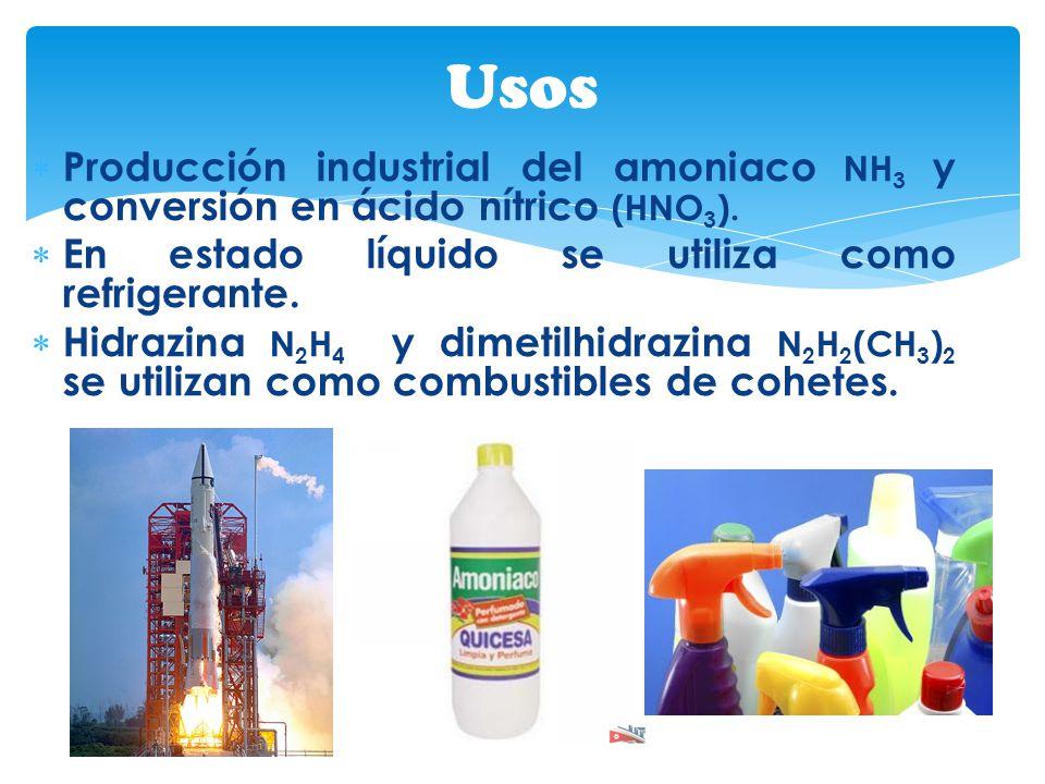 Producción industrial del amoniaco NH 3 y conversión en ácido nítrico (HNO 3 ). En estado líquido se utiliza como refrigerante. Hidrazina N 2 H 4 y di