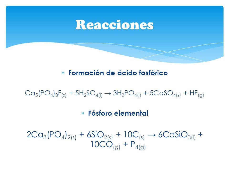 Formación de ácido fosfórico Ca 5 (PO 4 ) 3 F (s) + 5H 2 SO 4(l) 3H 3 PO 4(l) + 5CaSO 4(s) + HF (g) Fósforo elemental 2Ca 3 (PO 4 ) 2(s) + 6SiO 2(s) +