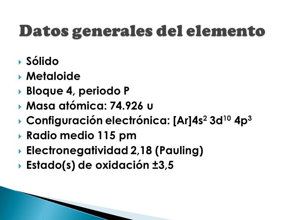 Sólido Metaloide Bloque 4, periodo P Masa atómica: 74.926 u Configuración electrónica: [Ar]4s 2 3d 10 4p 3 Radio medio 115 pm Electronegatividad 2,18