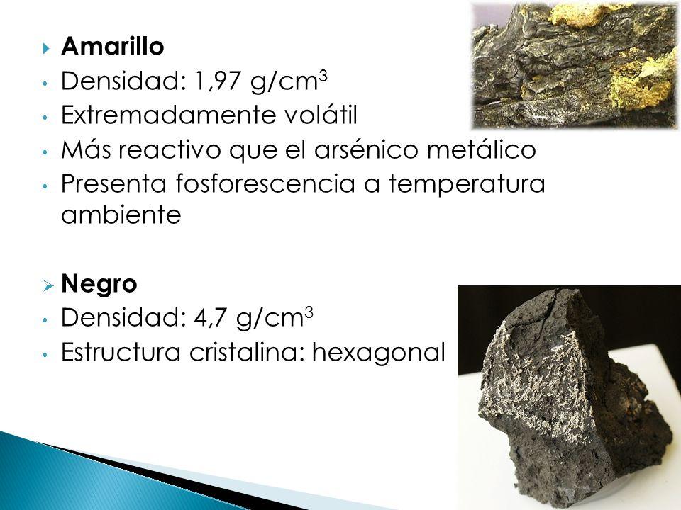 Amarillo Densidad: 1,97 g/cm 3 Extremadamente volátil Más reactivo que el arsénico metálico Presenta fosforescencia a temperatura ambiente Negro Densi