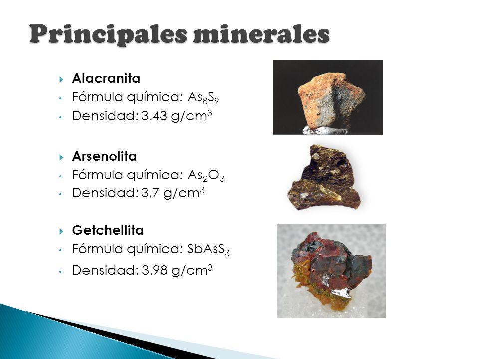 Alacranita Fórmula química: As 8 S 9 Densidad: 3.43 g/cm 3 Arsenolita Fórmula química: As 2 O 3 Densidad: 3,7 g/cm 3 Getchellita Fórmula química: SbAs