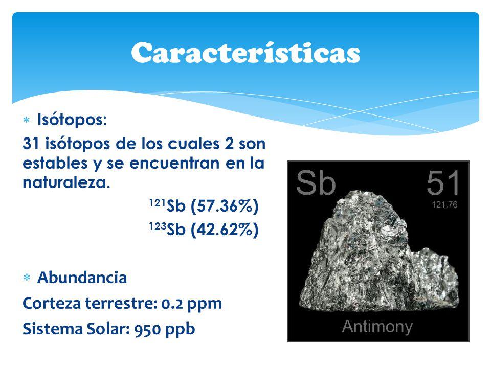 Isótopos: 31 isótopos de los cuales 2 son estables y se encuentran en la naturaleza. 121 Sb (57.36%) 123 Sb (42.62%) Abundancia Corteza terrestre: 0.2