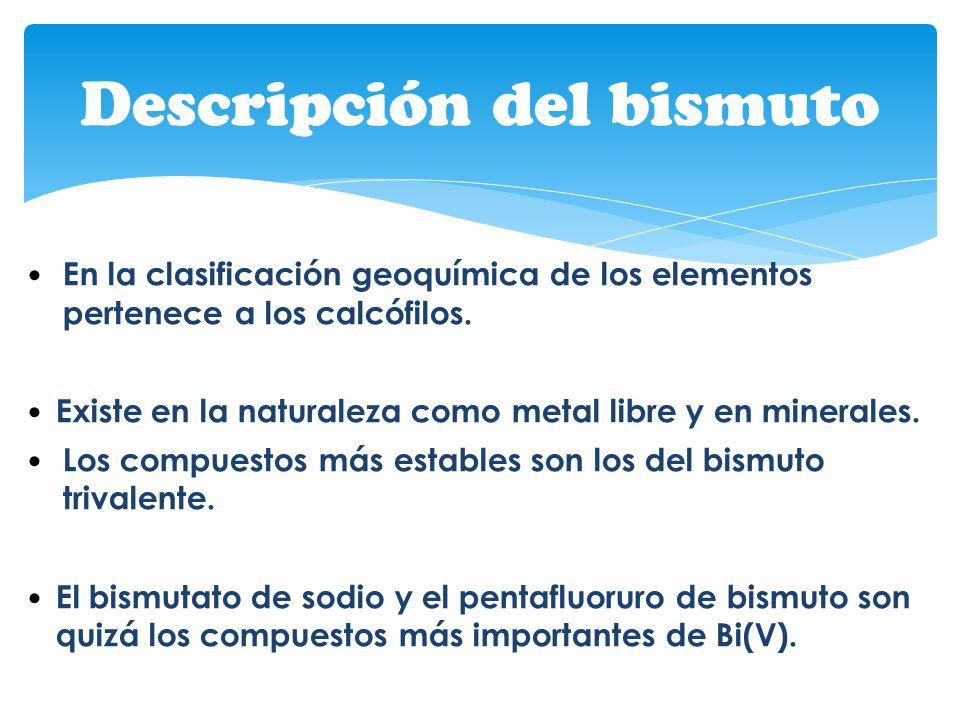 En la clasificación geoquímica de los elementos pertenece a los calcófilos. Existe en la naturaleza como metal libre y en minerales. Los compuestos má