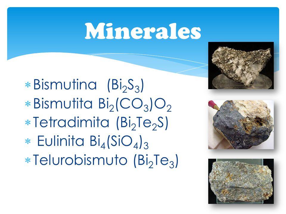 Bismutina (Bi 2 S 3 ) Bismutita Bi 2 (CO 3 )O 2 Tetradimita (Bi 2 Te 2 S) Eulinita Bi 4 (SiO 4 ) 3 Telurobismuto (Bi 2 Te 3 ) Minerales