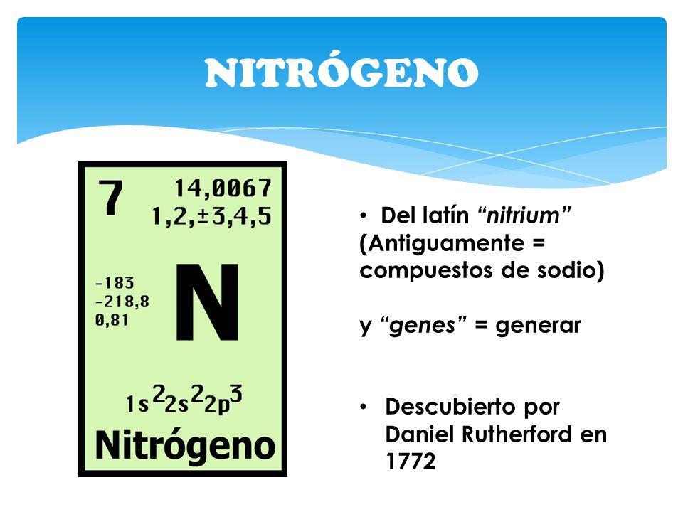 NITRÓGENO Del latín nitrium (Antiguamente = compuestos de sodio) y genes = generar Descubierto por Daniel Rutherford en 1772