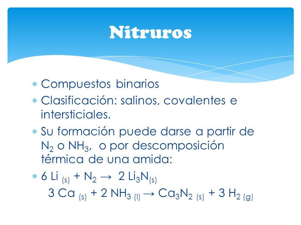 Compuestos binarios Clasificación: salinos, covalentes e intersticiales. Su formación puede darse a partir de N 2 o NH 3, o por descomposición térmica