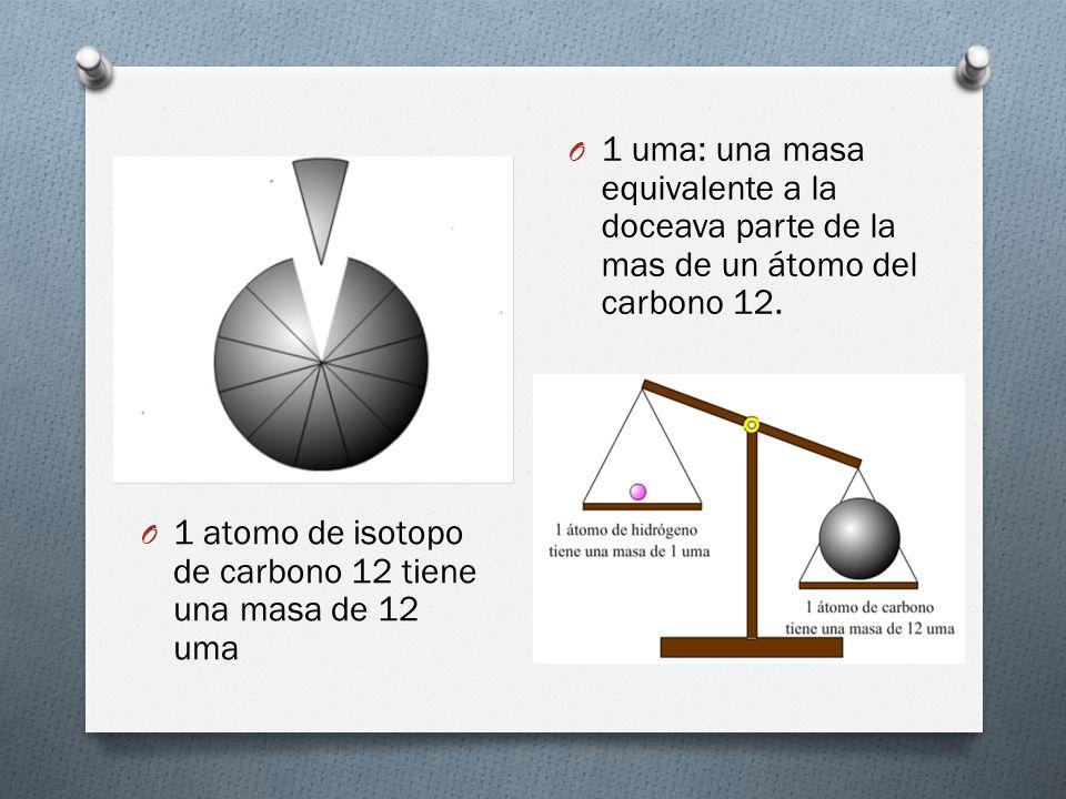 O 1 atomo de isotopo de carbono 12 tiene una masa de 12 uma O 1 uma: una masa equivalente a la doceava parte de la mas de un átomo del carbono 12.