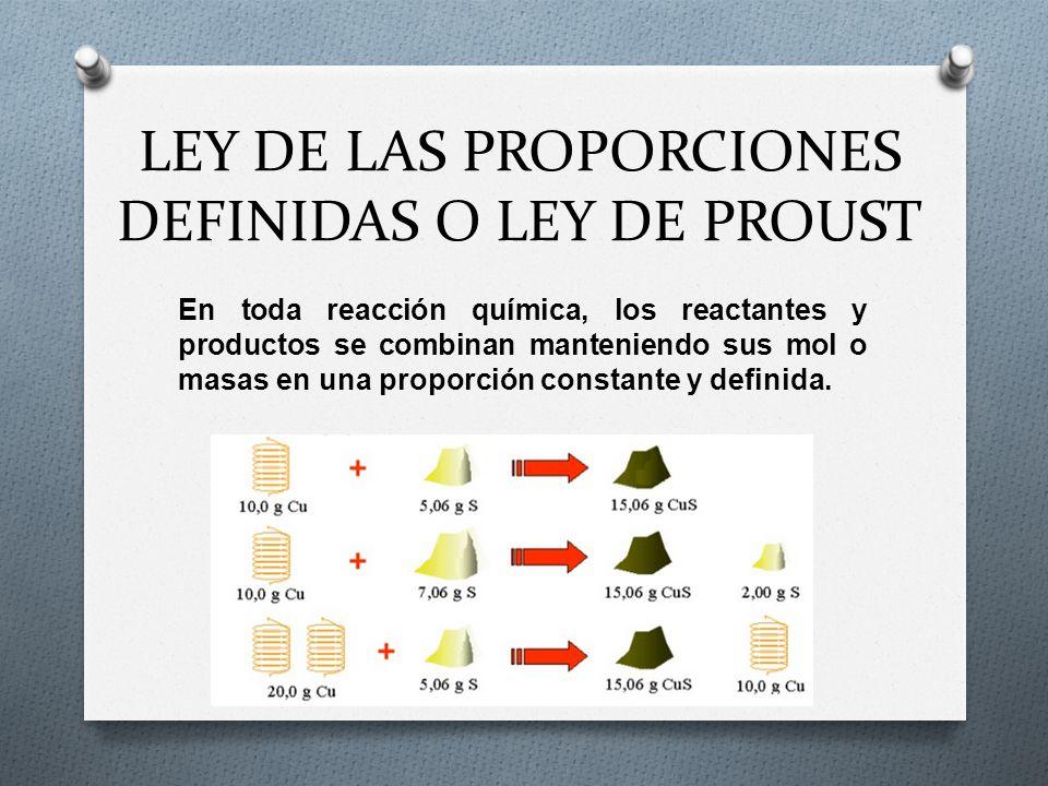 LEY DE LAS PROPORCIONES DEFINIDAS O LEY DE PROUST En toda reacción química, los reactantes y productos se combinan manteniendo sus mol o masas en una