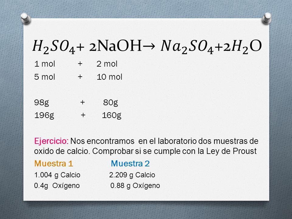 1 mol + 2 mol 5 mol + 10 mol 98g + 80g 196g + 160g Ejercicio: Nos encontramos en el laboratorio dos muestras de oxido de calcio. Comprobar si se cumpl