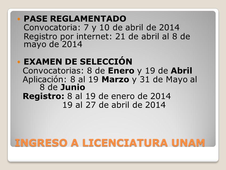 INGRESO A LICENCIATURA UNAM PASE REGLAMENTADO Convocatoria: 7 y 10 de abril de 2014 Registro por internet: 21 de abril al 8 de mayo de 2014 EXAMEN DE