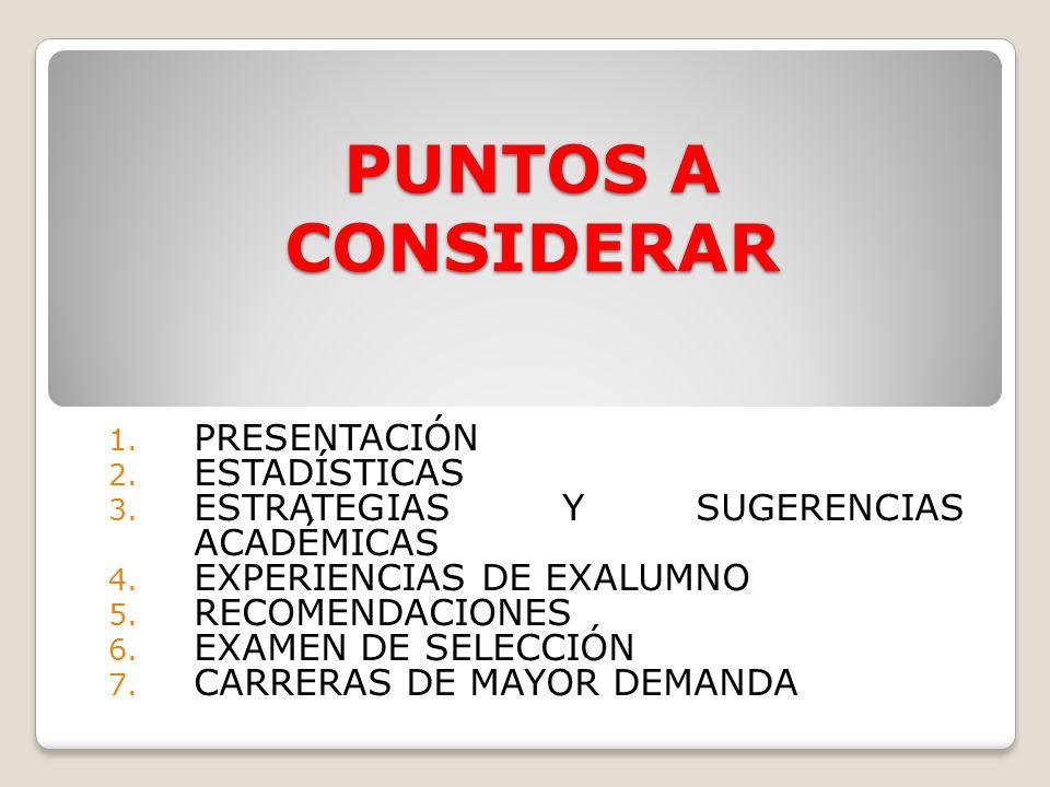 PUNTOS A CONSIDERAR 1. PRESENTACIÓN 2. ESTADÍSTICAS 3. ESTRATEGIAS Y SUGERENCIAS ACADÉMICAS 4. EXPERIENCIAS DE EXALUMNO 5. RECOMENDACIONES 6. EXAMEN D
