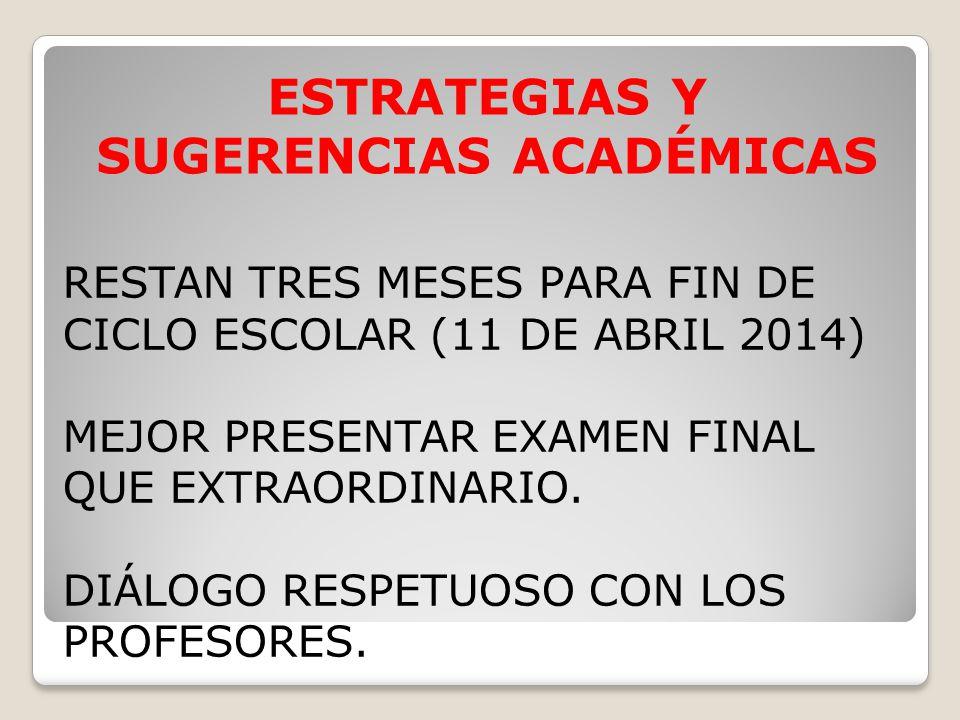 RESTAN TRES MESES PARA FIN DE CICLO ESCOLAR (11 DE ABRIL 2014) MEJOR PRESENTAR EXAMEN FINAL QUE EXTRAORDINARIO. DIÁLOGO RESPETUOSO CON LOS PROFESORES.